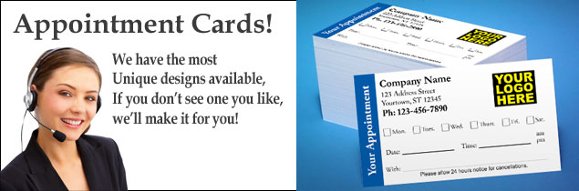 Appointment Cards for Doctors Dentists Medical Hair Salons Nail Salons Spa's