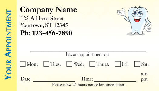 Dental appointment business cards | Medical Appointment Cards