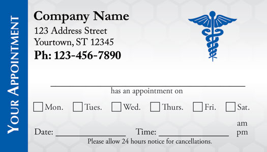 Medical Appointment Cards  Doctors Appointment Cards