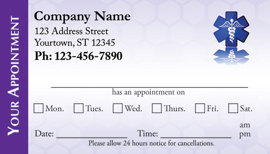 Medical Appointment Cards Doctors appointment cards – Sample Appointment Card Template