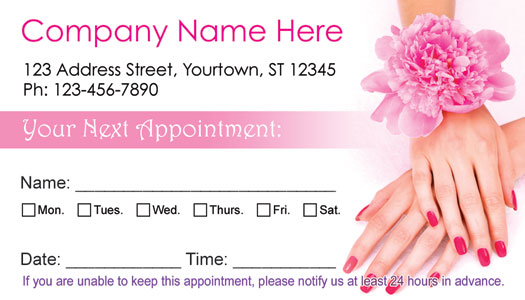 Nail Salon Appointment Cards - AppointmentCardCentral.com