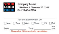 Dental appointment business cards   Medical Appointment Cards