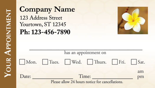 Spa appointment cards for Appointment cards templates free
